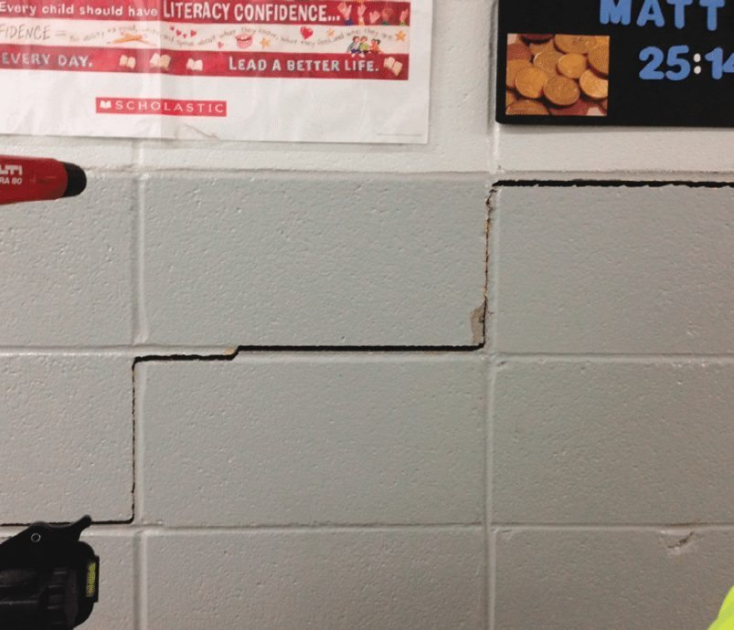 Cement wall crack